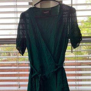 Reformation Viscose emerald green wrap dress